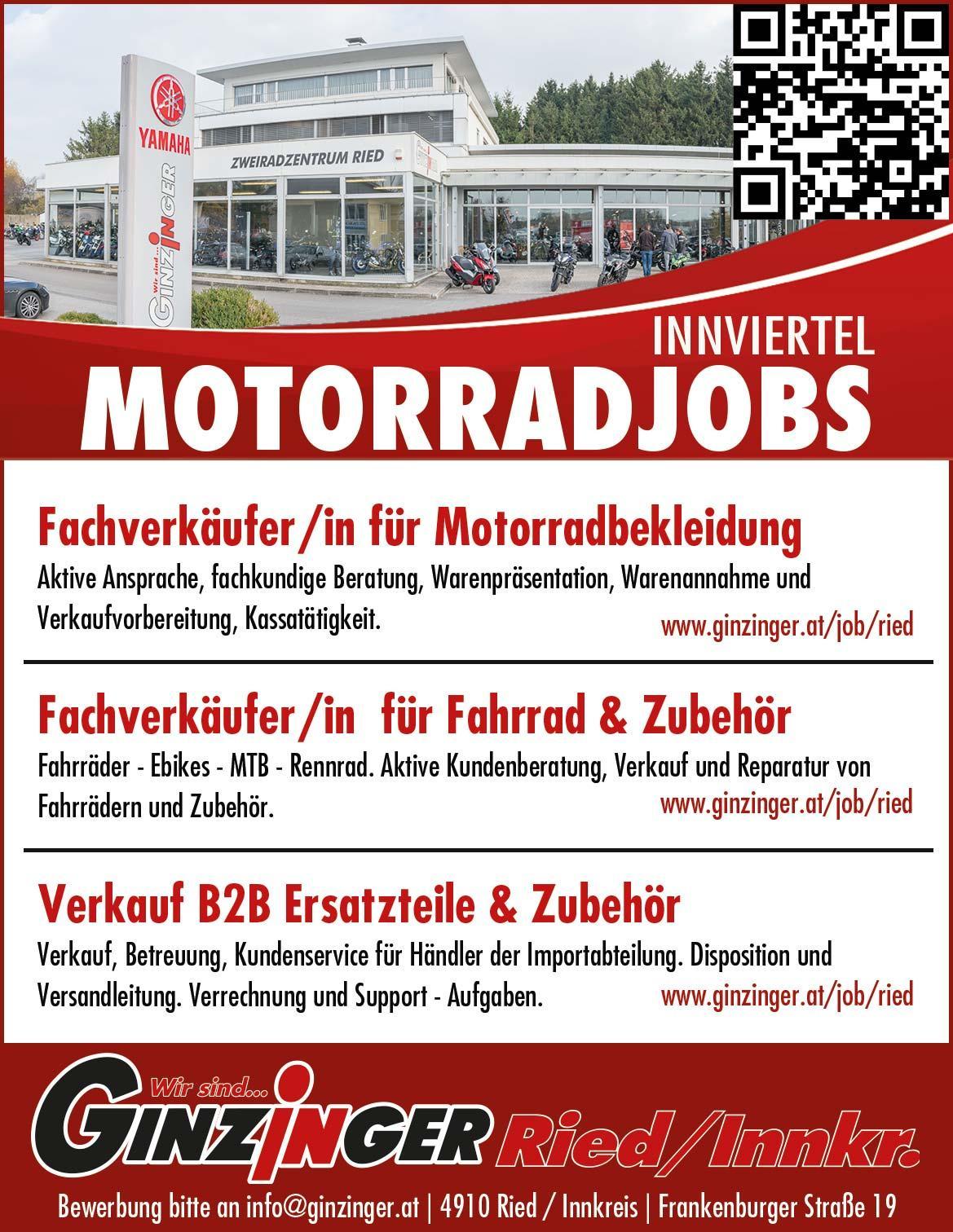 Zweirad Ginzinger sucht Mitarbeiter in Oberösterreich / Innviertel
